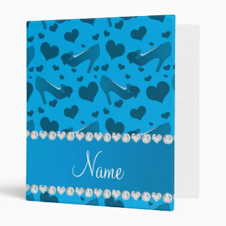 Personalized name sky blue hearts shoes bows 3 ring binder