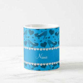 Personalized name sky blue hearts shoes bows coffee mug