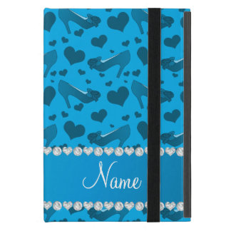 Personalized name sky blue hearts shoes bows cover for iPad mini