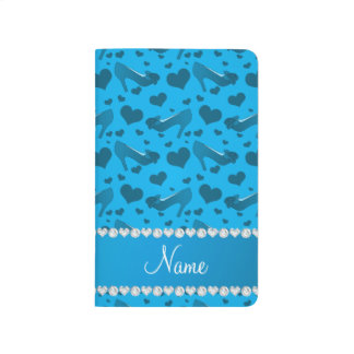 Personalized name sky blue hearts shoes bows journal