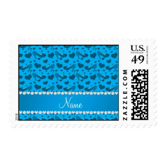 Personalized name sky blue hearts shoes bows postage