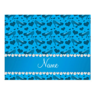 Personalized name sky blue hearts shoes bows postcard