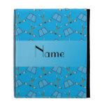 Personalized name sky blue hockey pattern iPad folio covers