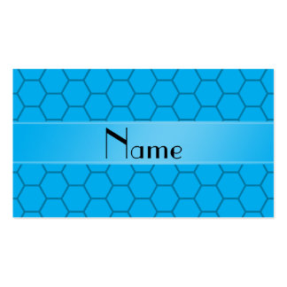Personalized name sky blue honeycomb Double-Sided standard business cards (Pack of 100)