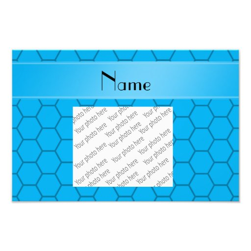 Personalized name sky blue honeycomb photo art