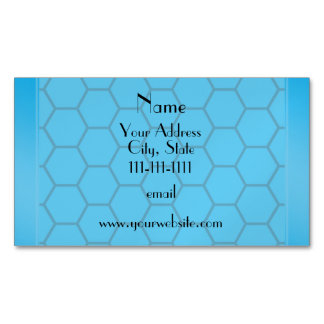 Personalized name sky blue honeycomb magnetic business cards (Pack of 25)