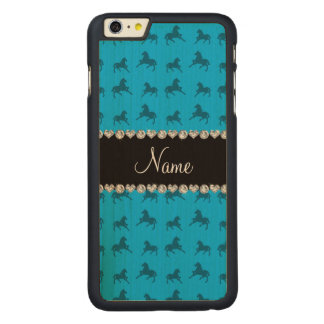 Personalized name sky blue horse pattern carved maple iPhone 6 plus slim case