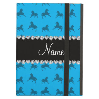 Personalized name sky blue horse pattern iPad air case