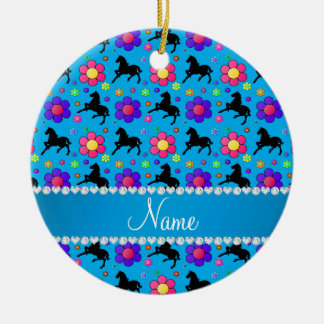 Personalized name sky blue horses flowers pattern ceramic ornament