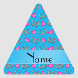 Personalized name sky blue horseshoes hearts triangle sticker