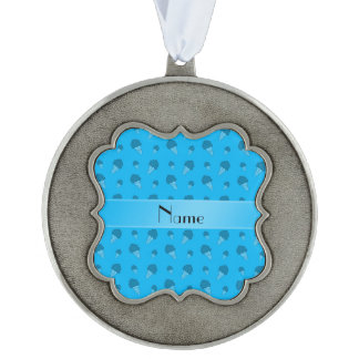 Personalized name sky blue ice cream pattern scalloped ornament