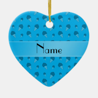 Personalized name sky blue ice cream pattern christmas ornaments