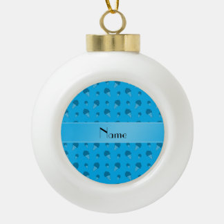 Personalized name sky blue ice cream pattern ornament