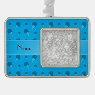 Personalized name sky blue ice cream pattern silver plated framed ornament