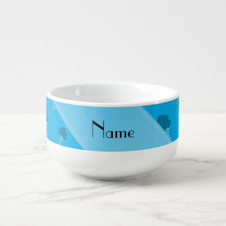 Personalized name sky blue ice cream pattern soup mug