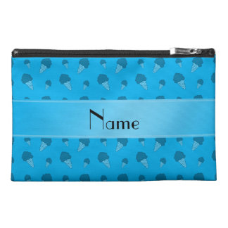 Personalized name sky blue ice cream pattern travel accessory bag