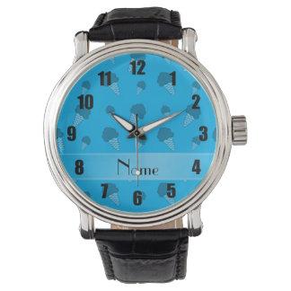 Personalized name sky blue ice cream pattern wrist watch