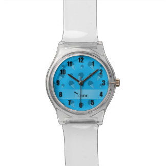 Personalized name sky blue ice cream pattern watches