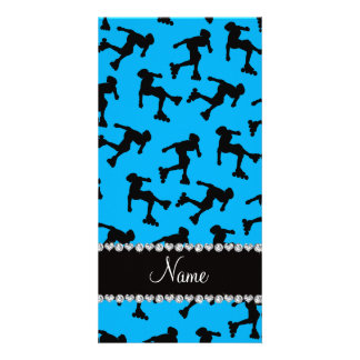 Personalized name sky blue inline skating photo card