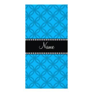 Personalized name sky blue interlocking circles photo card