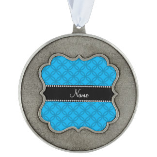 Personalized name sky blue interlocking circles scalloped pewter christmas ornament