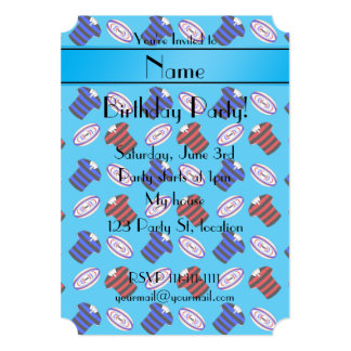 Personalized name sky blue jerseys rugby balls personalized invitation card