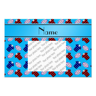 Personalized name sky blue jerseys rugby balls photo print