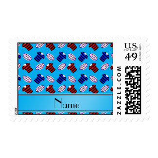 Personalized name sky blue jerseys rugby balls postage stamps
