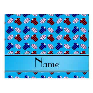 Personalized name sky blue jerseys rugby balls post cards