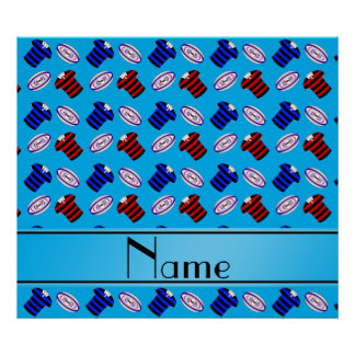 Personalized name sky blue jerseys rugby balls print
