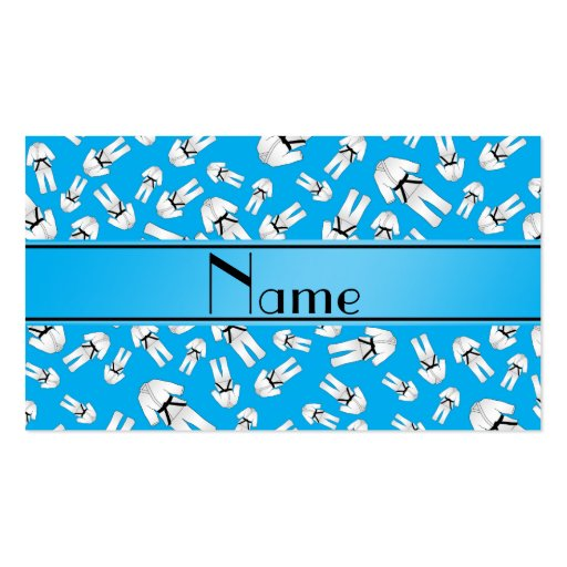 Personalized name sky blue karate pattern business card template