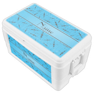 Personalized name sky blue kayaks chest cooler