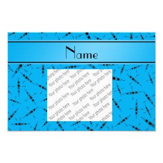 Personalized name sky blue kayaks photo print