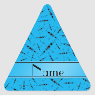 Personalized name sky blue kayaks triangle stickers