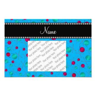 Personalized name sky blue knitting pattern photo print