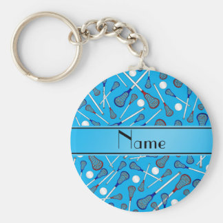 Personalized name sky blue lacrosse pattern basic round button keychain