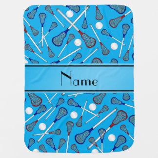 Personalized name sky blue lacrosse pattern stroller blanket