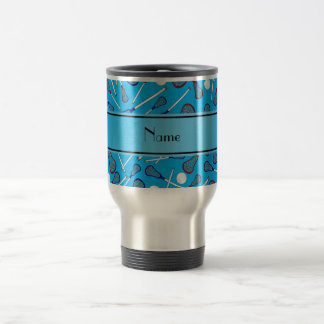 Personalized name sky blue lacrosse pattern travel mug