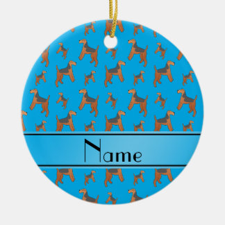 Personalized name sky blue Lakeland Terrier dogs Ceramic Ornament