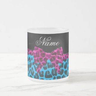 Personalized name sky blue leopard print pink bow coffee mugs