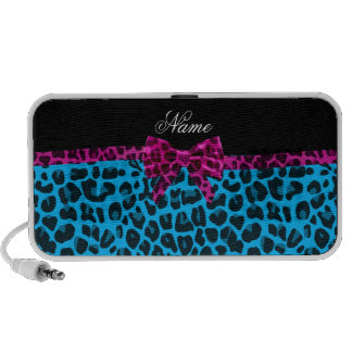 Personalized name sky blue leopard print pink bow speaker