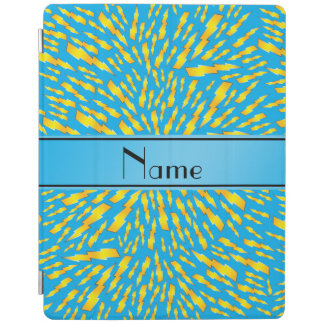 Personalized name sky blue lightning bolts iPad cover
