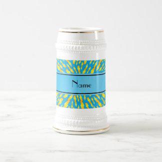 Personalized name sky blue lightning bolts coffee mugs
