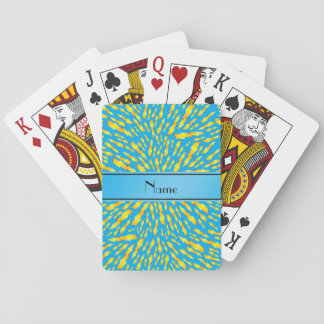 Personalized name sky blue lightning bolts deck of cards