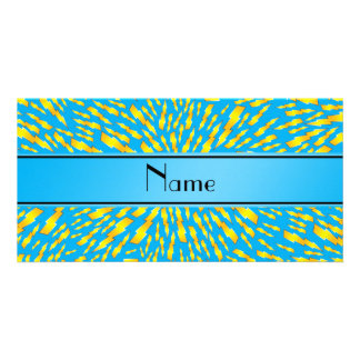 Personalized name sky blue lightning bolts personalized photo card