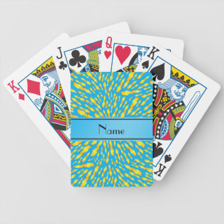 Personalized name sky blue lightning bolts bicycle card decks