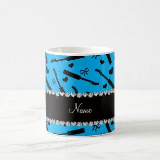Personalized name sky blue mascara hearts bows coffee mug