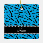 Personalized name sky blue mascara hearts bows square ornament