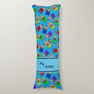 Personalized name sky blue mexican wrestling body pillow