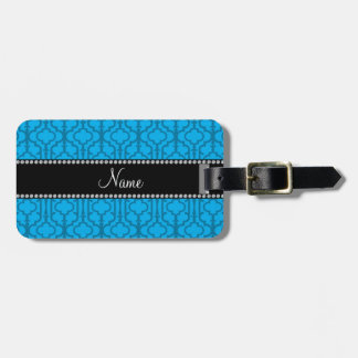Personalized name sky blue moroccan quatrefoil luggage tags